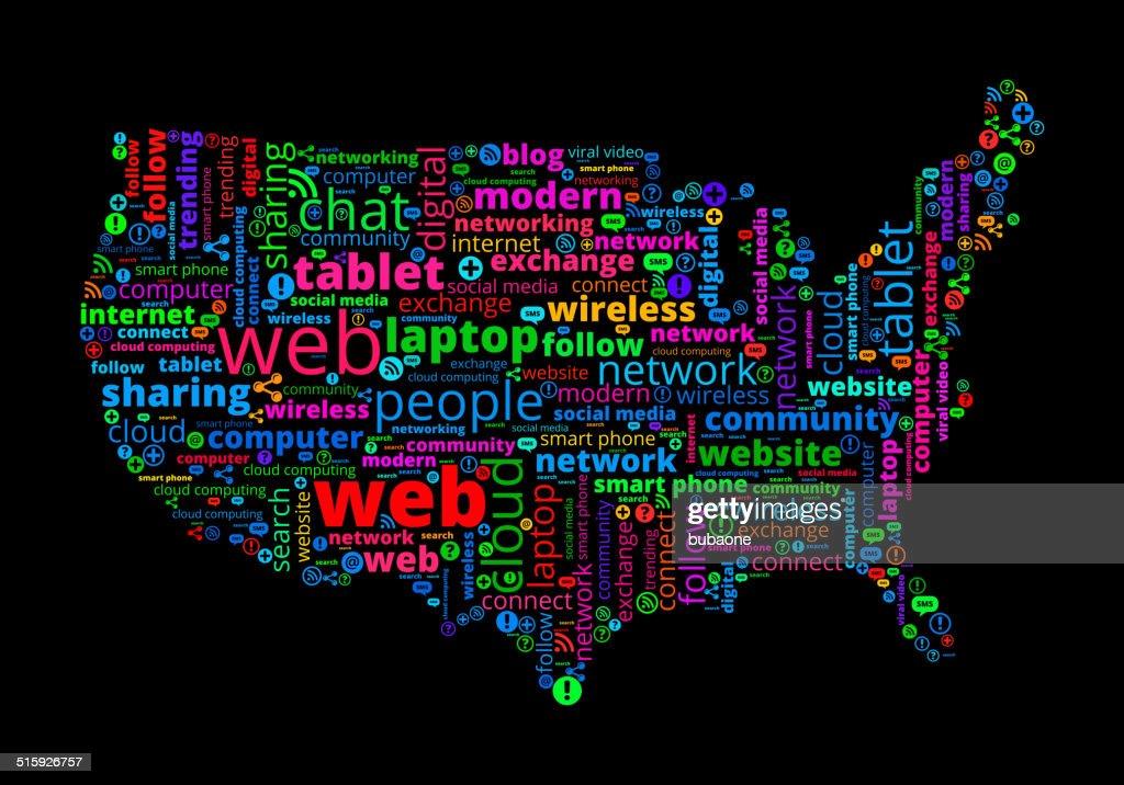 Usa map on modern communication and technology word cloud vector art usa map on modern communication and technology word cloud vector art gumiabroncs Choice Image