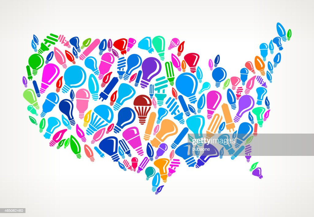 Us Map On Royalty Free Vector Lightbulb Pattern Background Vector ...