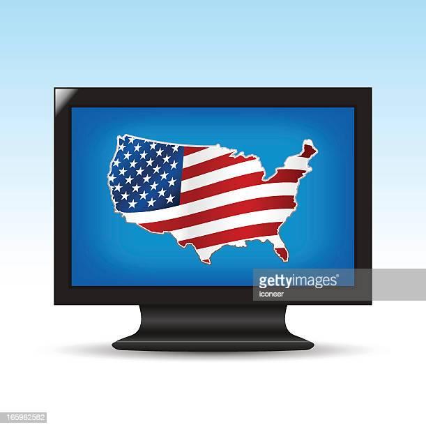 ilustrações, clipart, desenhos animados e ícones de estados unidos mapa na tv - usa