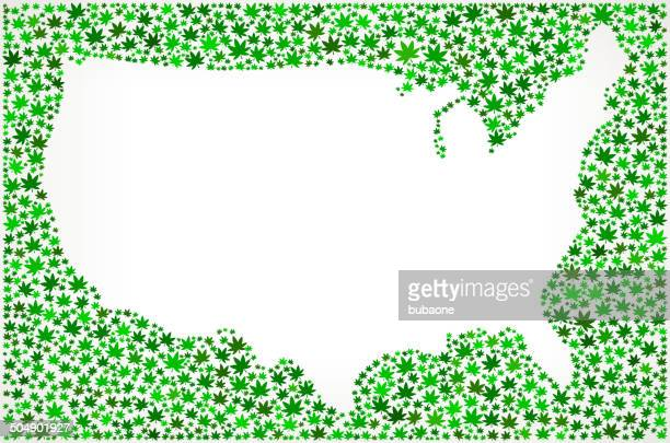 USA Map on Weed royalty free vector art Pattern