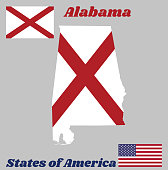 Map outline and flag of Alabama, The states of America,  Red St. Andrew's saltire in a field of white.