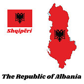 Map outline and flag of Albania, a red field with the black double-headed eagle in the center.