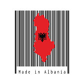 Map outline and flag of Albania, a red with the black double-headed eagle on the black barcode with white background, text: Made in Albania.