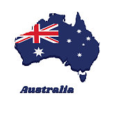 3D Map outline and flag of Australia in blue red and white color with white star and Union Jack.