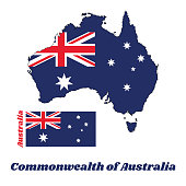 Map outline and flag of Australia in blue red and white color with white star and Union Jack.