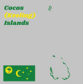 Map outline and flag of Cocos (Keeling) Islands. Green, with a palm tree on a gold disc, a gold crescent in the centre and a gold southern cross in the fly.