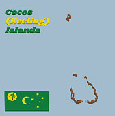 3D Map outline and flag of Cocos (Keeling) Islands. Green, with a palm tree on a gold disc, a gold crescent in the centre and a gold southern cross in the fly.