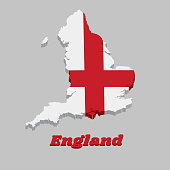 3D Map outline and flag of England, it is a red centred cross on a white background.