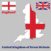 Map outline and flag of England, it is a red centred cross on a white background and union jack flag, with name text United Kingdom of Great Britain.