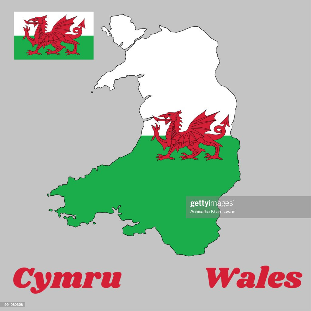 Map outline and flag of Wales, consists of a red dragon passant on a green and white field. with name text Wales and Cymru.