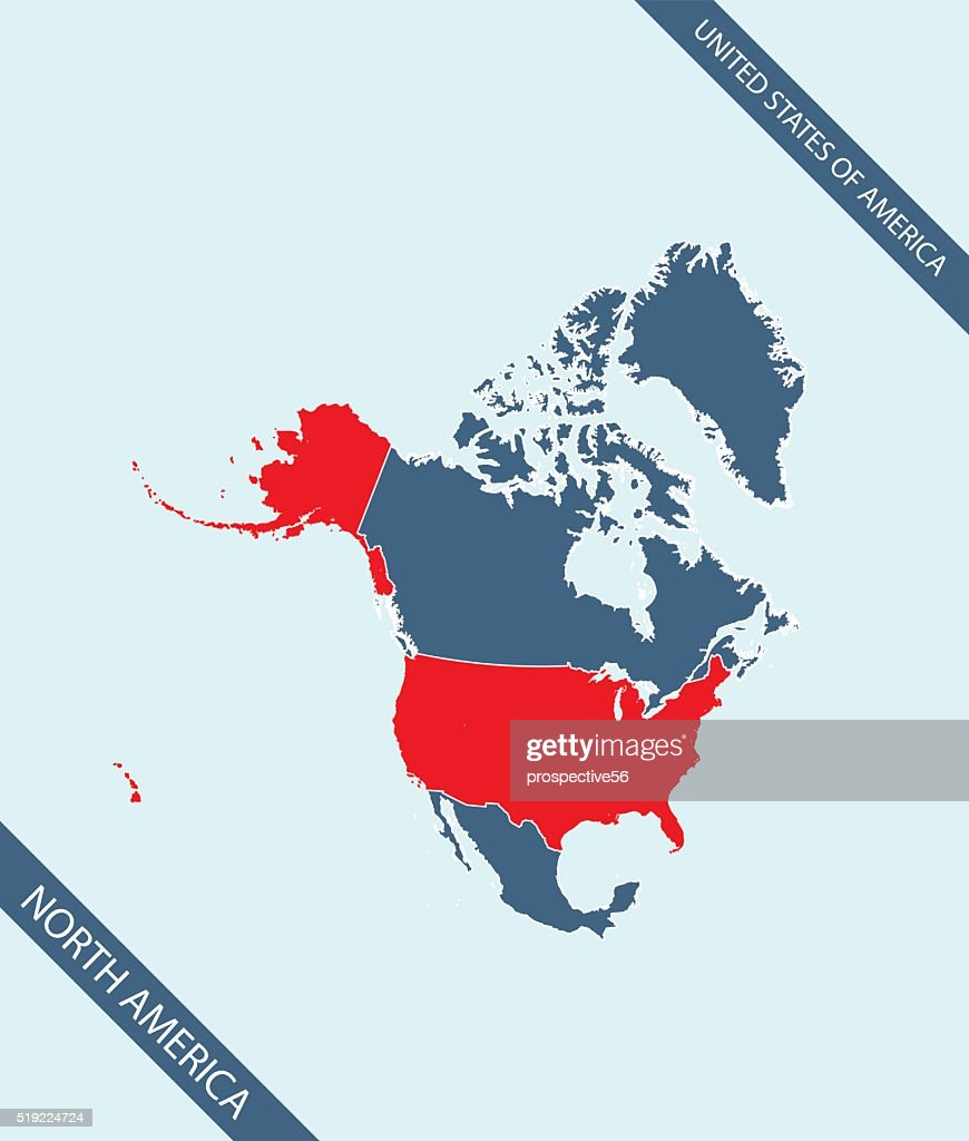 Usa Map Outline Vector Highlighted In North America Stock ...