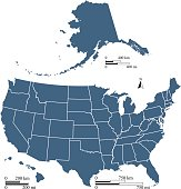USA map outline vector illustration with mileage and kilometer scales in blue background