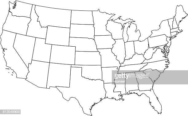 usa map outline white background - us state border stock illustrations, clip art, cartoons, & icons