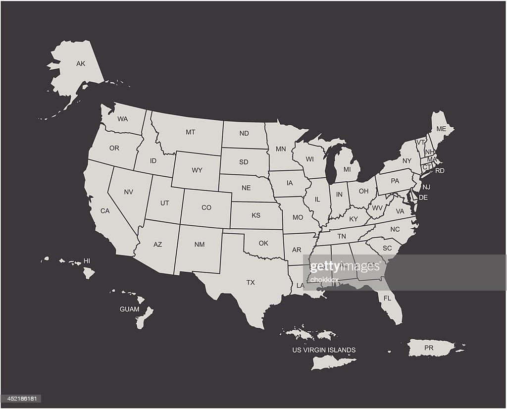 Usa Map Outline With Its Territories Vector Art | Getty Images