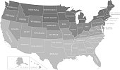USA map outline with states labeled vector gray background printable