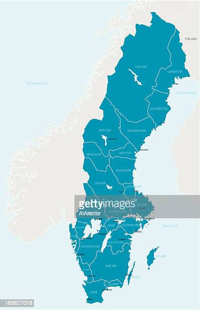 map outlining only sweden in blue - sweden stock illustrations