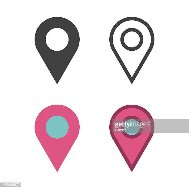 map pin icon - straight pin stock illustrations, clip art, cartoons, & icons