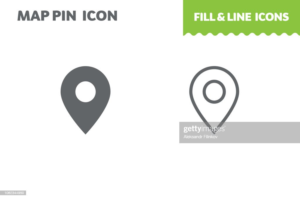 Map pin  icon, vector.