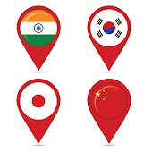 Map pin icons of national flags of asian countries