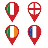 Map pin icons of national flags of european countries