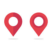 Map Pin, Location Icon Vector Design on White Background.