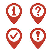 Map pin location icons set.