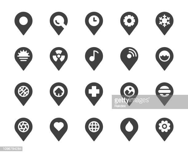 map pin pointer - icons - push pin stock illustrations