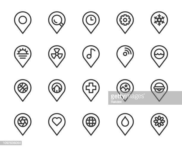 stockillustraties, clipart, cartoons en iconen met kaart pin pointer - lijn pictogrammen - richting