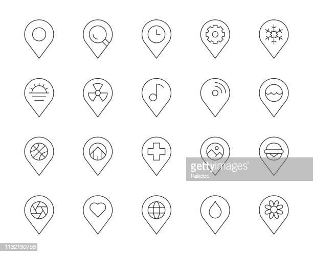 map pin pointer - thin line icons - push pin stock illustrations