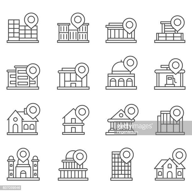 map pin set - locator map stock illustrations