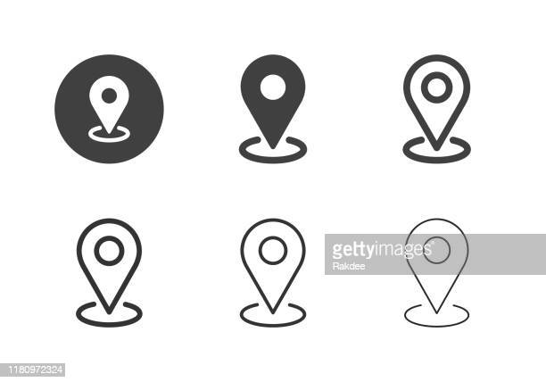 karte pinpoint icons - multi series - karte navigationsinstrument stock-grafiken, -clipart, -cartoons und -symbole