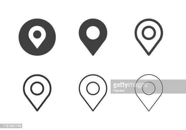 map pinpoint icons - multi series - positioning stock illustrations