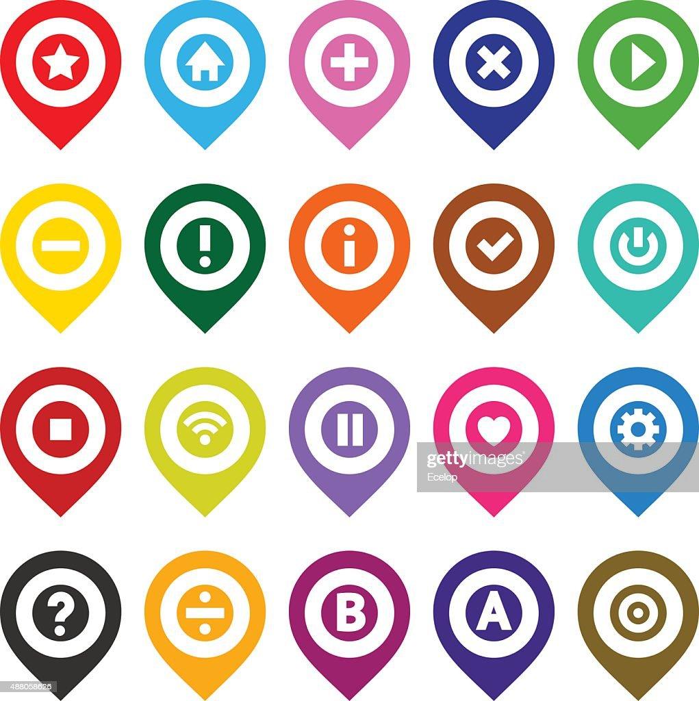 Map pins, color set