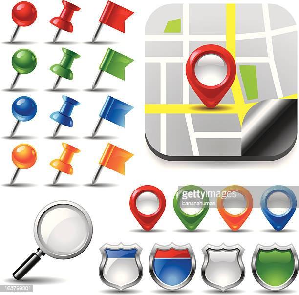 map pins - thumbtack stock illustrations, clip art, cartoons, & icons