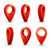 Map pointer 3d pin. Location symbols vector set isolated on white background