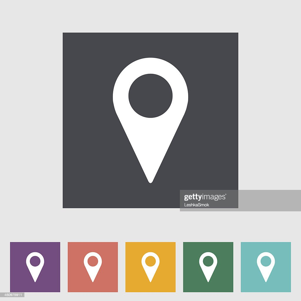Map pointer flat single icon.