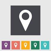 Map pointer flat single icon.