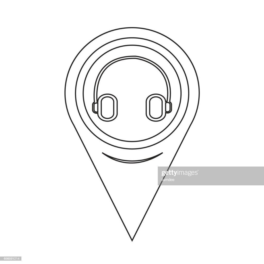 Map Pointer Headphone Icon