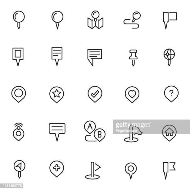map pointer icon set - pointer stick stock illustrations
