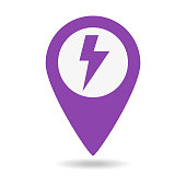 map pointer icon with electricity symbol on white background.