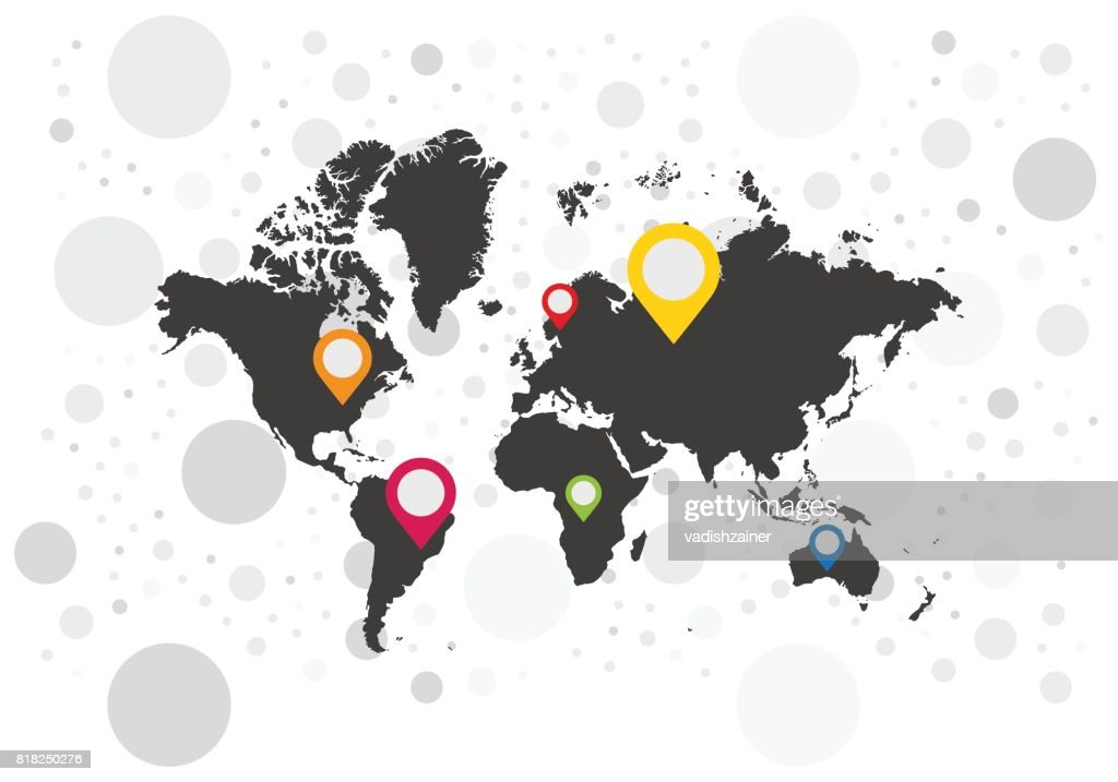 Map pointer icons on background world map flat vector illustration map pointer icons on background world map flat vector illustration eps 10 vector gumiabroncs Image collections