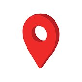 3D map pointer in flat style. Gps navigation mark illustration on white isolated background. Pointer destination concept.