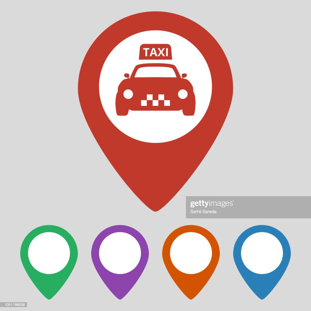 Map pointer with taxi icon on grey background.