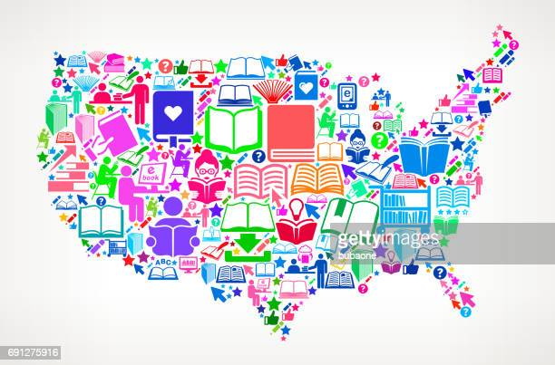US Map Reading Books and Education Vector Icons Background