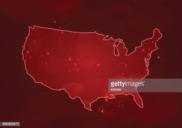 Karte der USA auf roten Hintergrund rot
