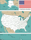 USA map scale. USA map with states and capitals and major cities names and geographical locations, scales of miles and kilometers, and the United States flag vector outline illustration