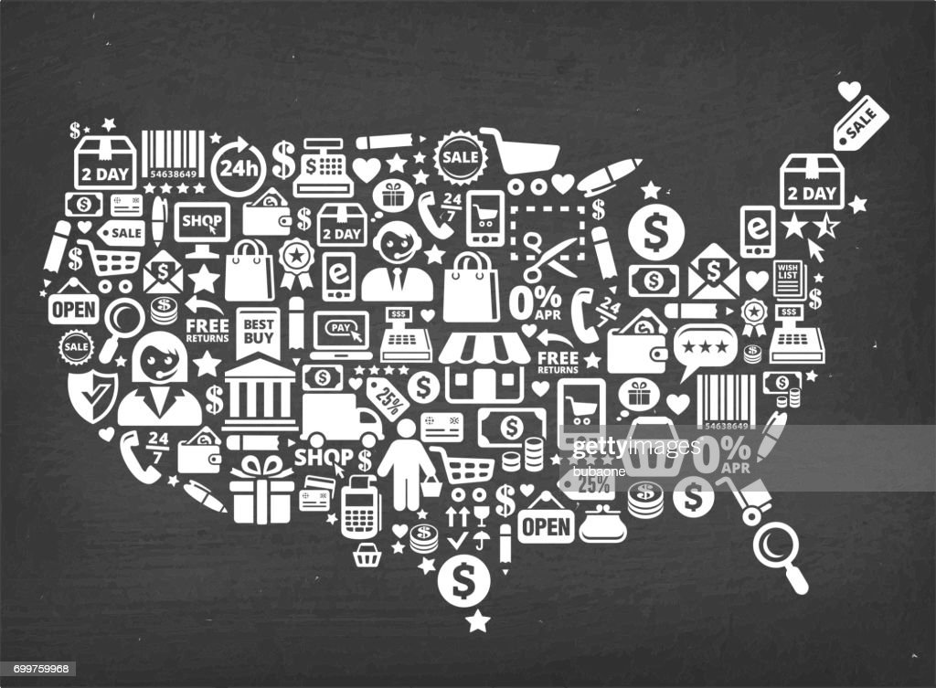 Usa Map Shopping Commerce Royalty Free Vector Background ...