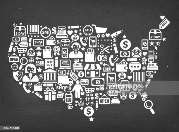 USA Map Shopping Commerce royalty free vector background