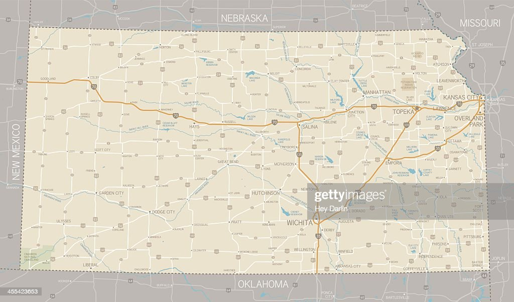 Map showing the roads in Kansas city