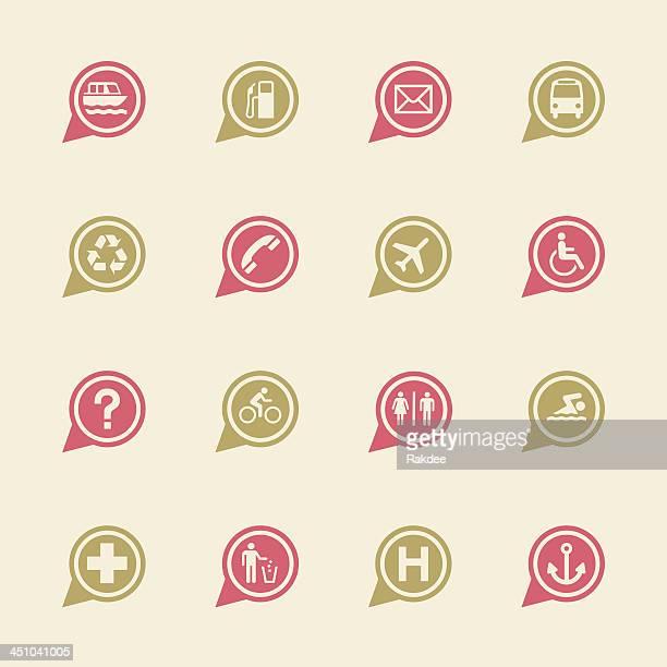 Conjunto de iconos de mapa de señal de 1-Color serie/EPS10